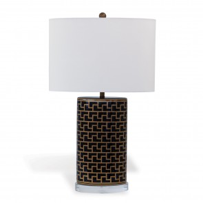 Geometric Greek Style Black Gold Lamp