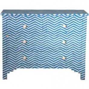 Bone Inlay Herringbone Chest Blue & White (Other Colors )