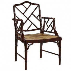 Chinese Chippendale Cane Arm Chair