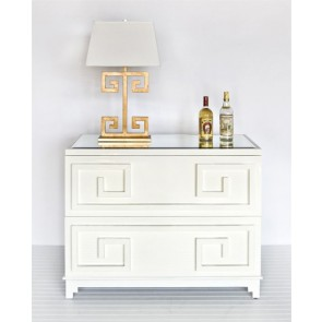White Lacquer Greek Key Chest