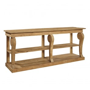 Natural Wood Console with Turned Legs