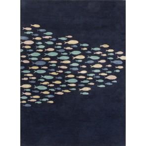 Plush Hand Tufted School of Fish Coastal Living Wool Rug Navy Blue