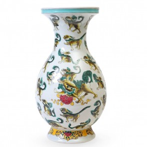 Hand Painted Baluster Foo Dog Vase