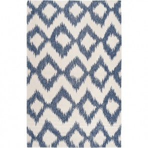 Ikat Wool Rug Navy White
