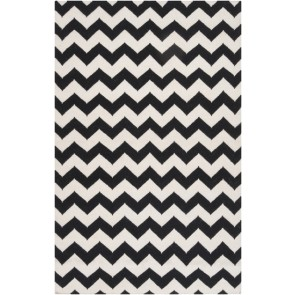 Chevron Wool Flat Weave Rug Black & White (Limited)