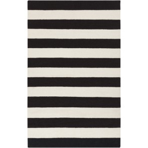 Striped Black & White Rug Flat Weave Wool