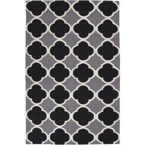 Moroccan Clover Black & Gray Rug Flat Weave Wool (Limited)