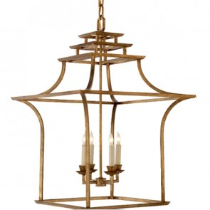 Gold Pagoda Lantern Chandelier New