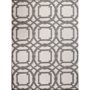 Luxury Plush Wool Geometric Links Rug Gray