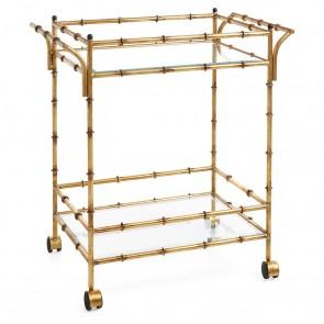 Antique Gold Bamboo Bar Cart