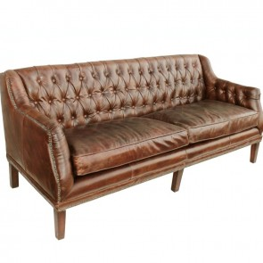 Cigar Leather Tufted Henry Settee & Sofa