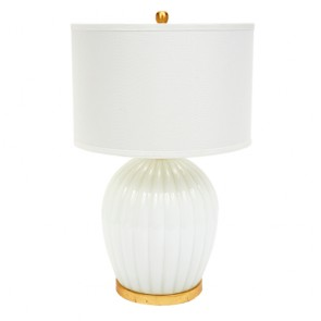 White Glass Scalloped Lamp and Gold
