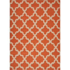 Quatrefoil Maroc Aster Wool Rug Orange Red