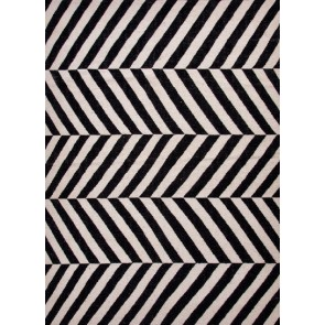 Herringbone Moroccan Salma Wool Rug Black Off White