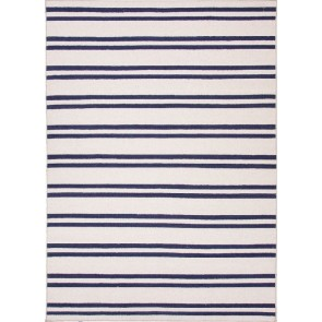 Amherst Striped Wool Rug Blue & Cream CLEARANCE