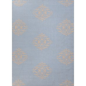 Flat Weave Wool  Rug Powder Blue & Gray