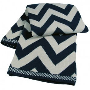 Chevron Luxury Cotton Throw Blanket Navy