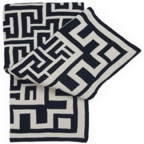 Greek Key Luxury Cotton Throw Blanket Navy