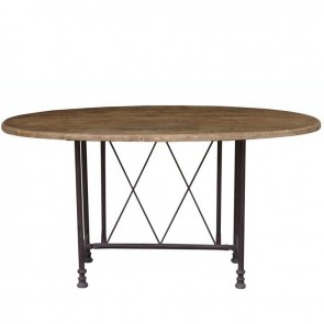 French Country Reclaimed Pine and Iron Oval Table