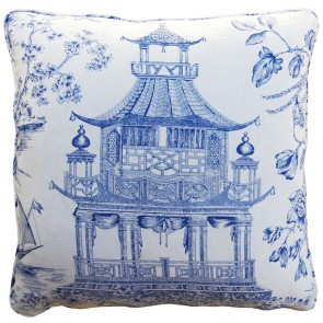 Luxury Blue Pagoda Pillow