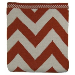 Chevron Luxury Cotton Throw Blanket Orange