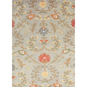 Floral Wool Passages Rug Sea Blue
