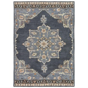 Hand Tufted Poeme Helda Wool Rug Midnight Blue Ebony