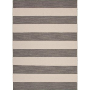 Striped Pura Vida Wool Rug Gray