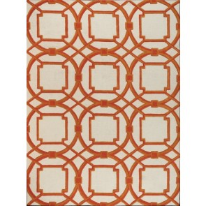 Luxury Plush Wool Geometric Links Rug Coral