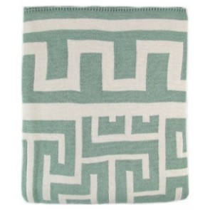 Greek Key Luxury Cotton Throw Blanket Aqua