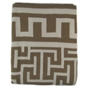 Greek Key Luxury Cotton Throw Blanket Chocolate