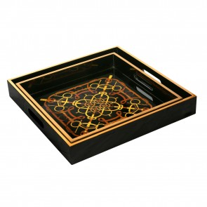 Black Equestrian Scarf Square Nesting Trays