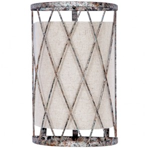 Woven Basket Antique Silver Linen Sconce