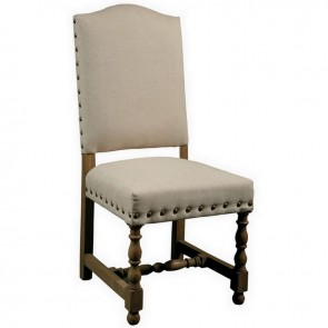 Spanish Linen Upholstered Dining Chair