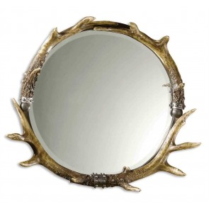 Round Faux Antler Stag Wood Mirror