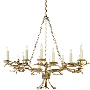 Gold Twig Chandelier New