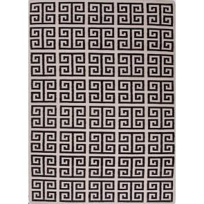 Greek Key Flat Wool Rug Black & White LIMITED