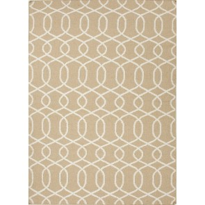 Greek Patterned Flat Wool Rug Khaki Gray
