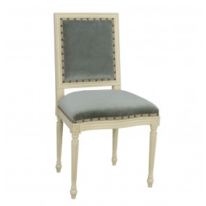 Luxury Cream and Sea Blue Velvet French Dining Chair (Options)
