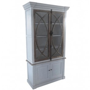Bernadette French Country Whitewash Cabinet Vitrine