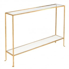 Woodard Skinny Glass Console (Silver and Gold)