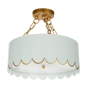 Duck Egg Blue Gold Scalloped Semi Flush (new)