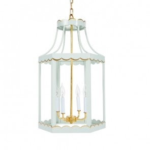 Duck Egg Blue Scalloped Lantern (new)