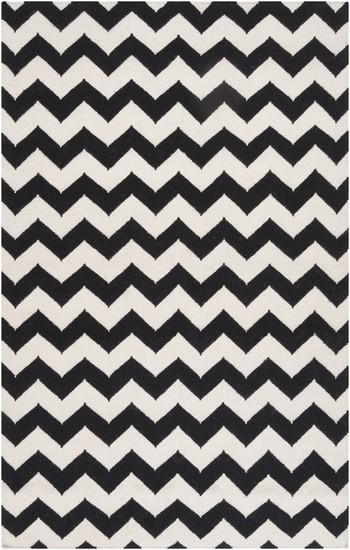 Chevron Wool Flat Weave Rug Black White Limited