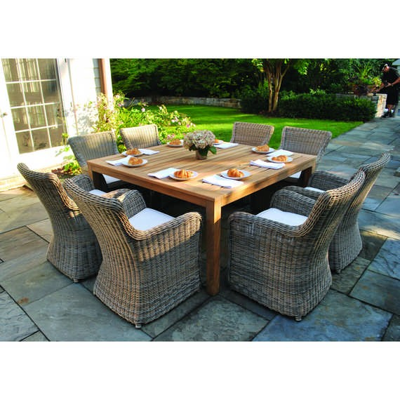 Wainscott Square Outdoor Dining Teak Table