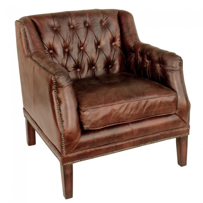 Cigar Leather Tufted Henry Club Chair