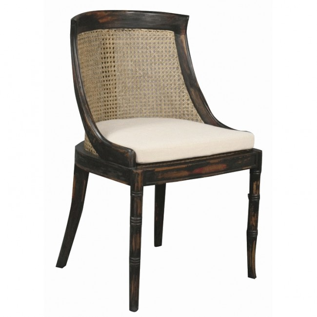 Home Samuel Cane Dining Chair Ebony Stain Closeup