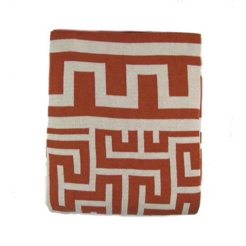 New Greek Key Luxury Cotton Throw Blanket Chocolate EJ36